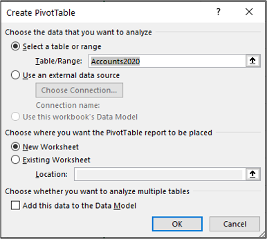 Create a PivotTable in Excel