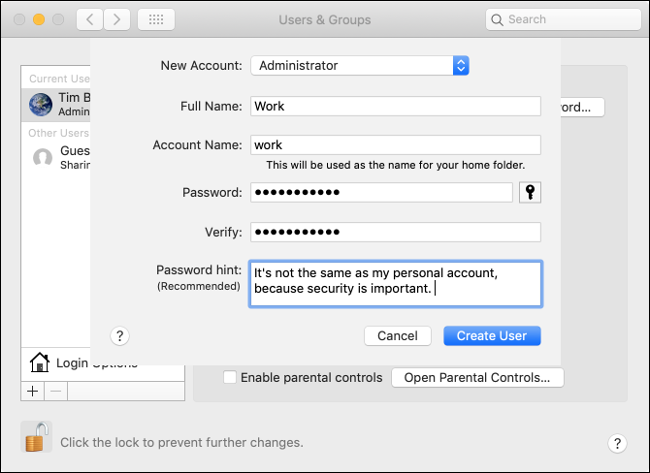 Create an Account on macOS