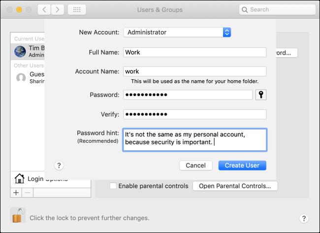 Create an Account on macOS