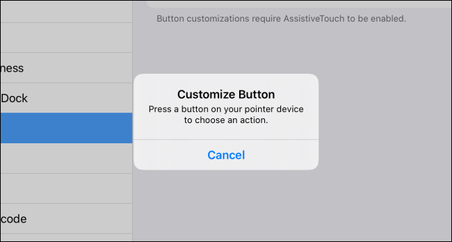 Customize Button pop-up in iPadOS