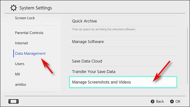 Seleccione Administrar capturas de pantalla y videos en la configuración de Nintendo Switch