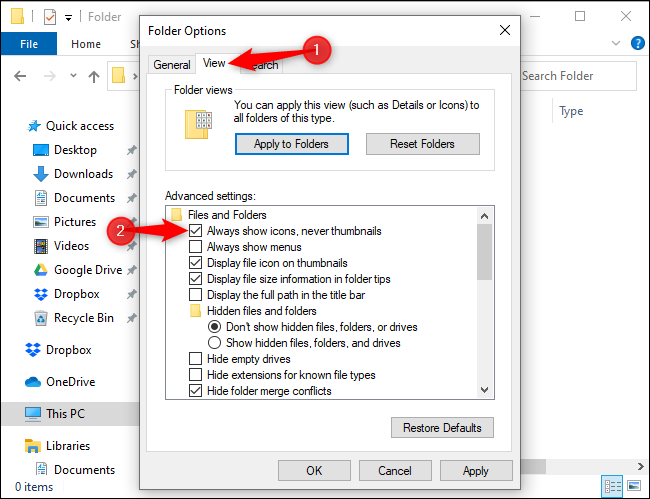 File Explorer settings to always display icons and never thumbnails