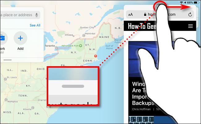 Deslice la ventana de vista lateral para dimiss en el iPad