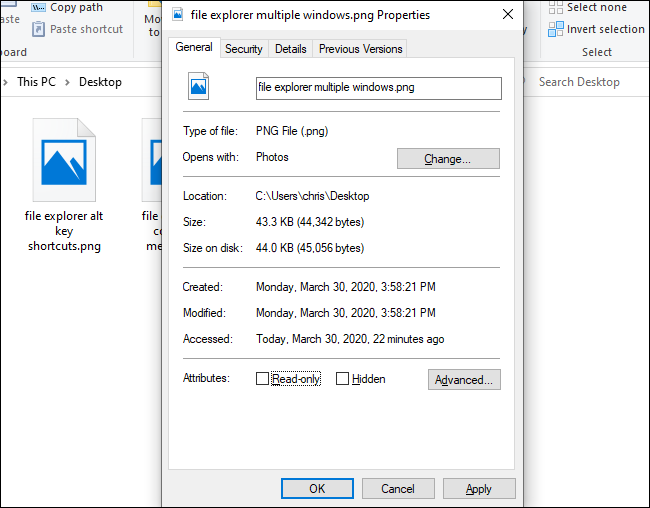 The Properties window in File Explorer.