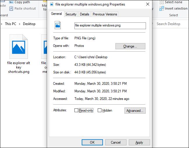 The Properties window in File Explorer.