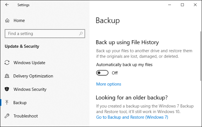 """Backup"" menu for Windows 10."