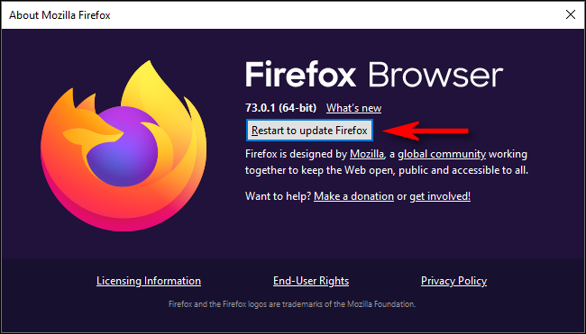"Click ""Restart to Update Firefox."""
