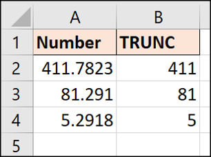 First TRUNC function example