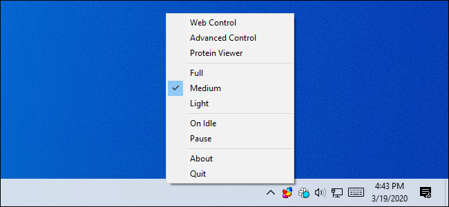 Controlling the Folding@home software from the Windows notification area