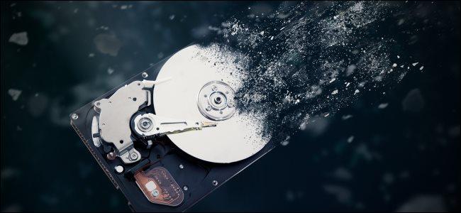 A hard drive disintegrating.