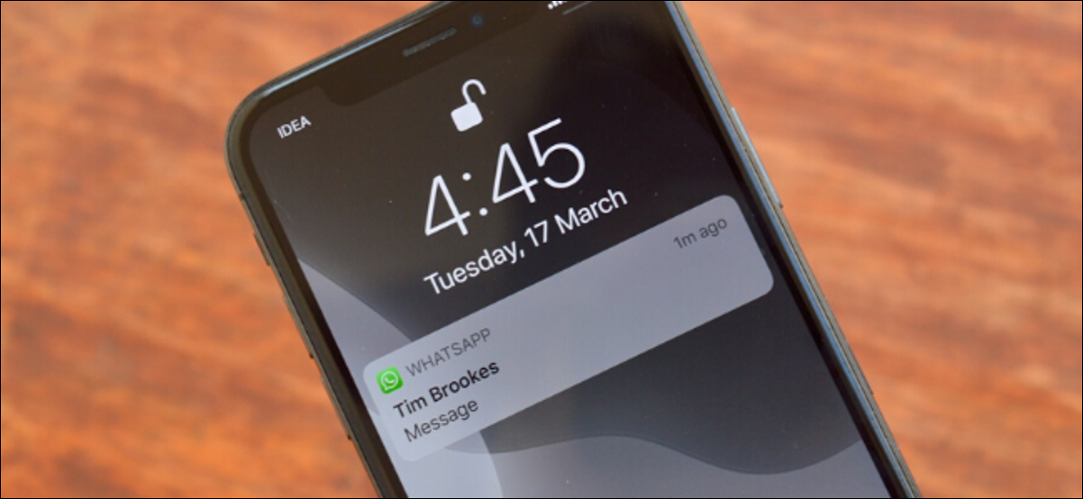 iPhone showing WhatsApp notification with preview hidden