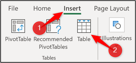 Insert a table in Excel