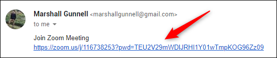 join using link from email