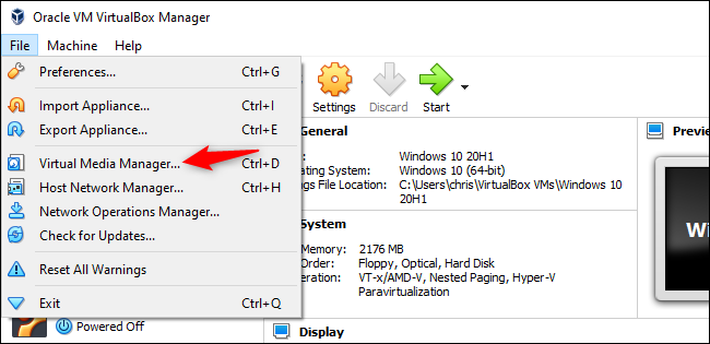 Launching the virtual media manager in VirtualBox