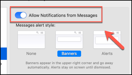 """Click the """"Allow Notifications From Messages"""" slider to disable all notifications from the Messages app on macOS"""