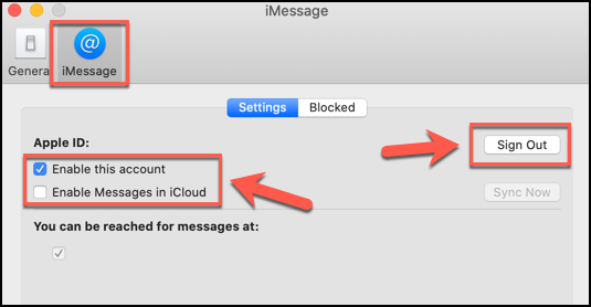 Click Sign Out, or uncheck all the relevant checkboxes, to disable the Messages app on macOS
