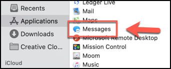 Launch the Messages app from the Applications Folder in Finder