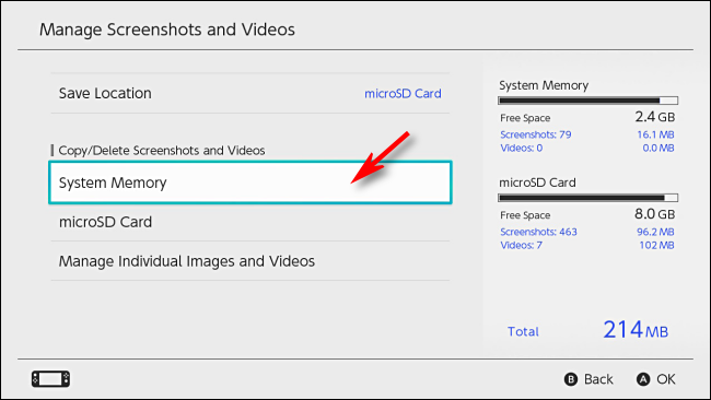 Manage Screenshots and Videos menu in Nintendo Switch settings
