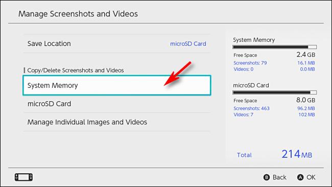 Administrar el menú de capturas de pantalla y videos en la configuración de Nintendo Switch