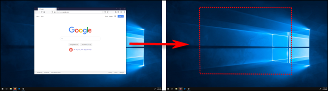 Moving a window between displays in Windows 10