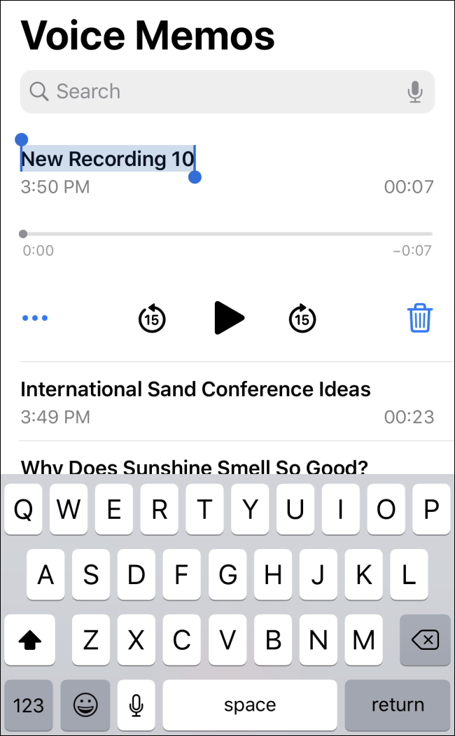 Naming a voice memo in iOS