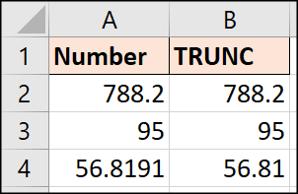 No extra decimals shown by TRUNC