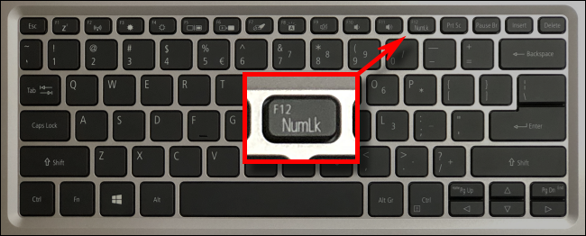 An example laptop numlock key