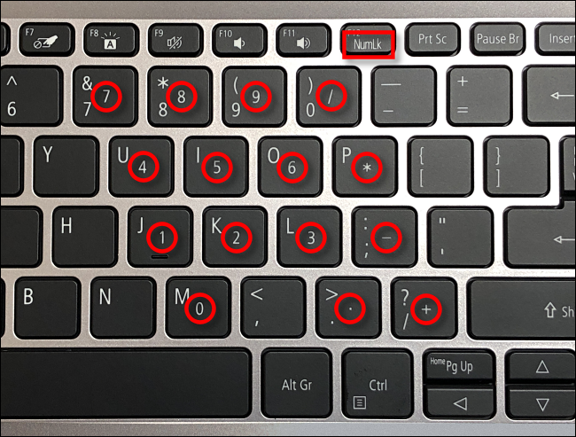 Example of num lock keys on a laptop keyboard