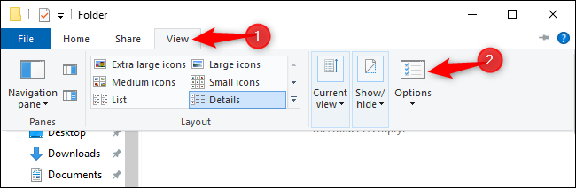 Opening the Folder Options window from File Explorer on Windows 10