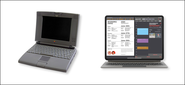 Un PowerBook 540c junto a un iPad Pro con teclado mágico.