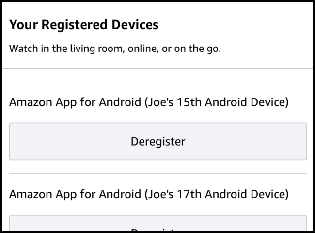 Prime Video Mobile Registered Device