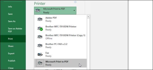 Excel - Print as PDF