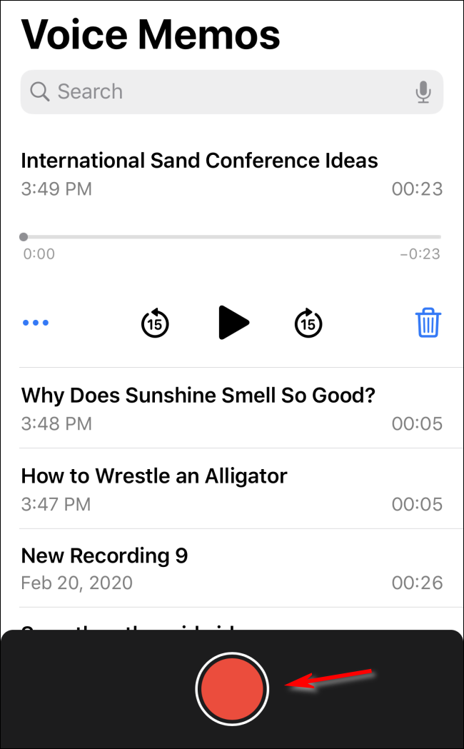 Record a voice memo in iOS