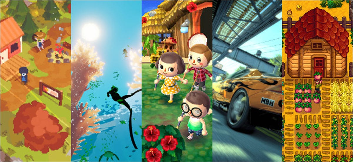 """Characters standing next to a campfire in front of a cabin in """"A Short Hike""""; A diver swimming just below the ocean's surface in """"Abzû""""; Four characters in front of a beach house in """"Animal Crossing: New Leaf""""; A yellow sports car driving under an overpass in """"Burnout Paradise Remastered""""; A farm in """"Stardew Valley"""";"""