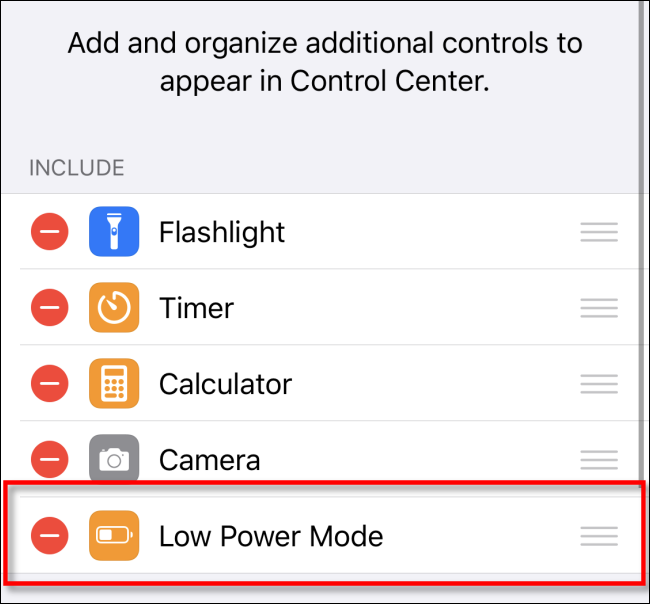 Remove Low Power Mode from Control Center iOS
