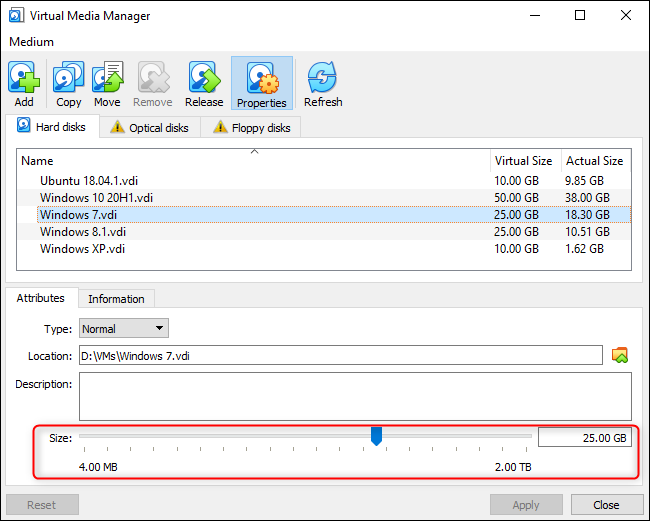 Resizing a virtual disk graphically in VirtualBox