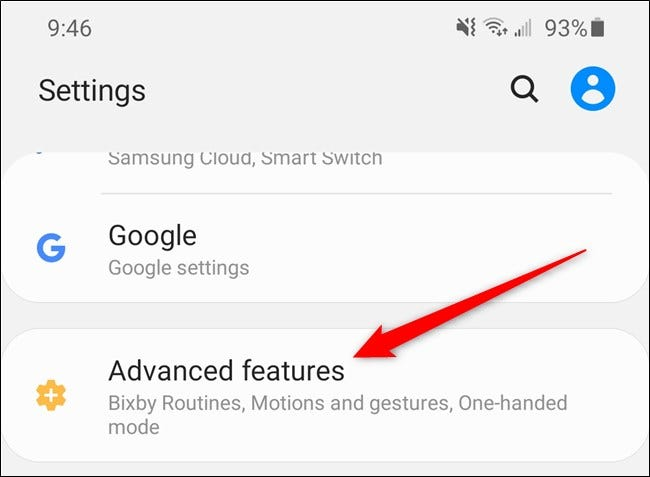 "Samsung Galaxy S20 Select the ""Advanced Features"" Option"