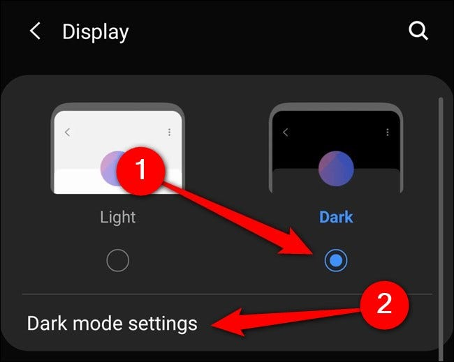 """Samsung Galaxy S20 Select """"Dark Mode."""" You can also tap on """"Dark Mode Settings."""""""