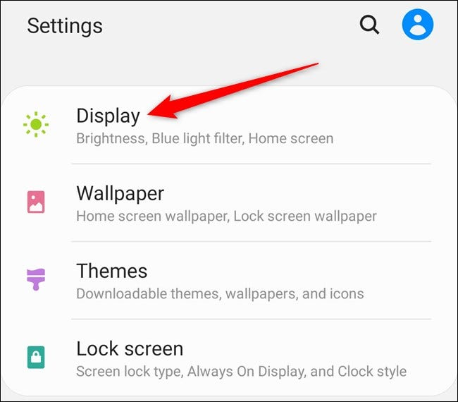 "Samsung Galaxy S20 Select the ""Display"" Option"