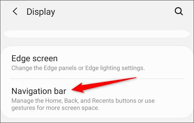 "Samsung Galaxy S20 Select the ""Navigation Bar"" button"