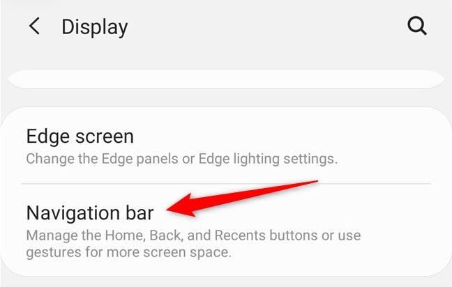 "Samsung Galaxy S20 Select the ""Navigation Bar"" button"