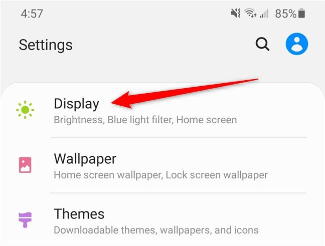 Samsung Galaxy S20 Select the Display Option