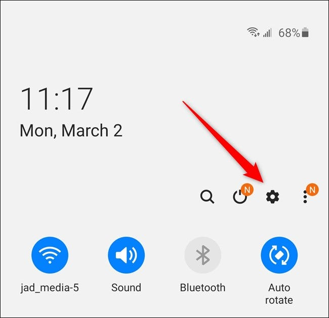 Samsung Galaxy S20 Select the Settings Gear Icon