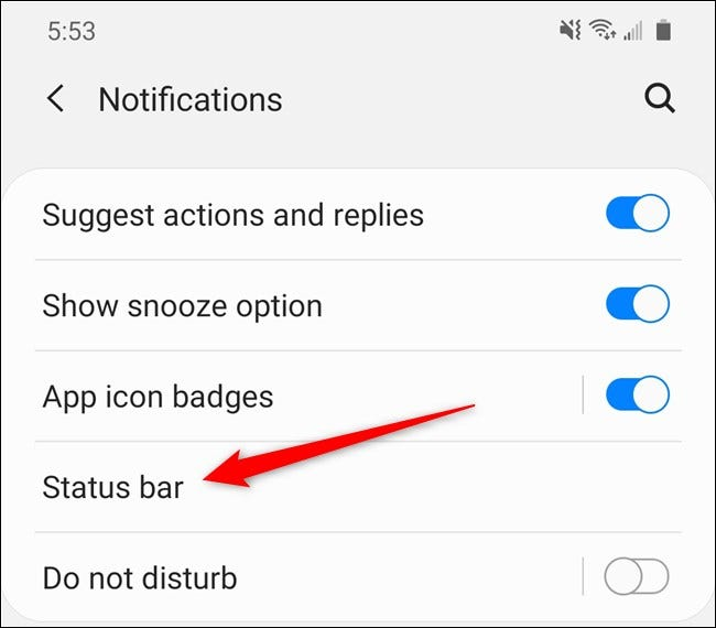 "Samsung Galaxy S20 Select the ""Status Bar"" Button"