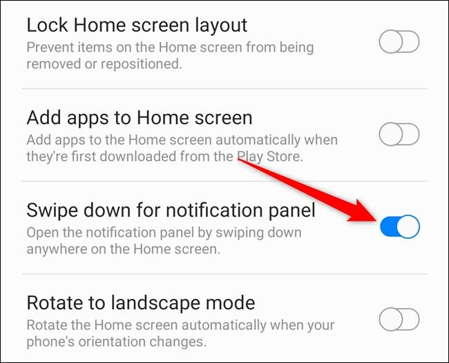 """Toggle-On """"Swipe Down for Notification Panel."""""""
