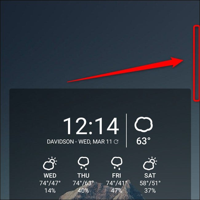 Samsung Galaxy S20 Swipe Open the Edge Panel