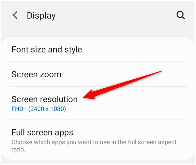 """Samsung Galaxy S20 Tap the """"Screen Resolution"""" Button"""
