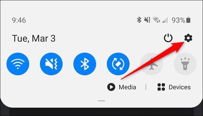 Samsung Galaxy S20 Tap the Gear Icon