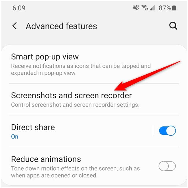 "Samsung Galaxy S20 Tap the ""Screenshots And Screen Recorder"" Item."