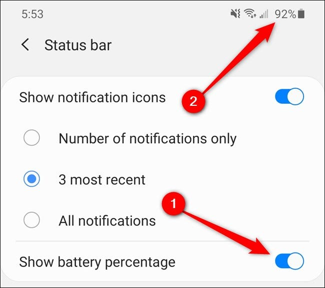"""Samsung Galaxy S20 Tap the """"Show Battery Percentage"""" Toggle"""